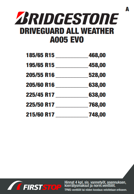 Bridgestone Weather Control A005 EVO DriveGuard
